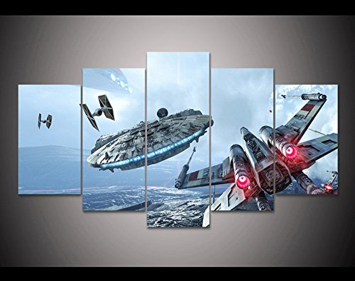 5PCS Framed Star Wars Millennium Falcon & X-Wing Canvas Prints - 5 Piece Canvas Star Wars Battle Artwork on Canvas Wall Art for Office and Home Wall Decor (40x60cm x2+40x80cm x2+40x100cm x1) (Star Wars Battle 5 Piece Canvas Painting)