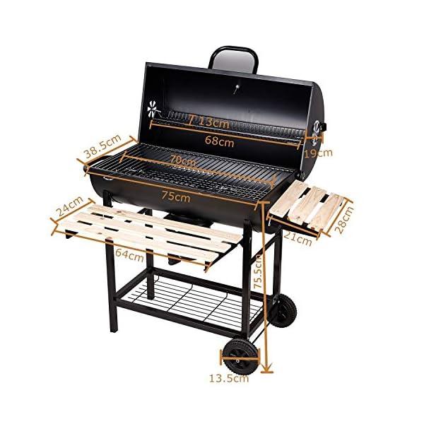 SunJas Barbecue/Griglia a Carbone BBQ Grill Carrello, Palla con Regolazione della Temperatura, Grill 2 Ruote, Nero 2 spesavip
