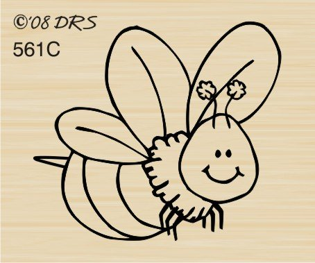Happy Bee Rubber Stamp By DRS Designs