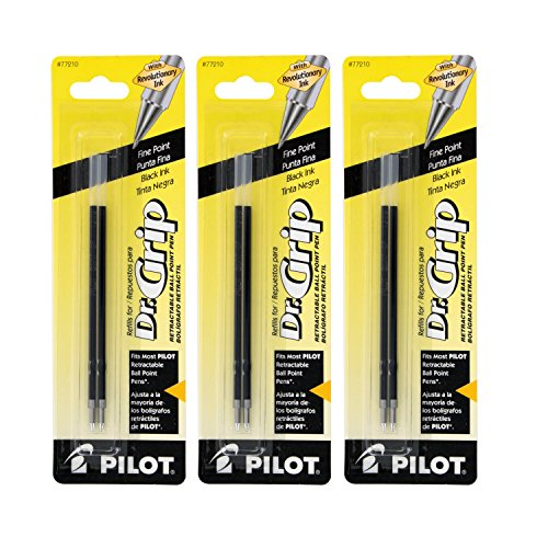 Pilot Better/EasyTouch/Dr Grip Retractable Ballpoint Pen Refills, 0.7mm, Fine Point, Black Ink, Pack of 6