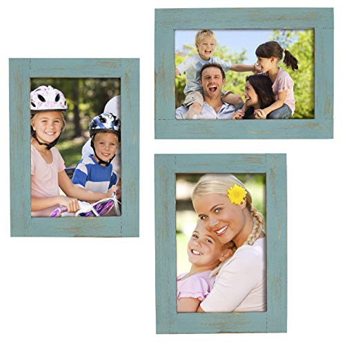(Rustic Torched Wood Picture Frames: Includes three 4