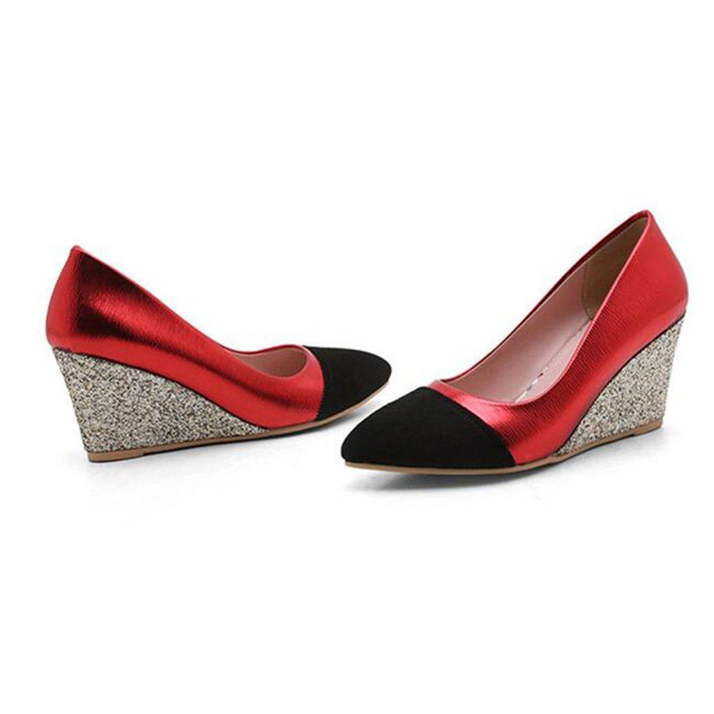 Einzelne Schuhe Frühling Herbst Pailletten PU PU PU Oben Spitzkopf Flacher Mund Frau Steigung mit Hohen Absätzen 1b0469