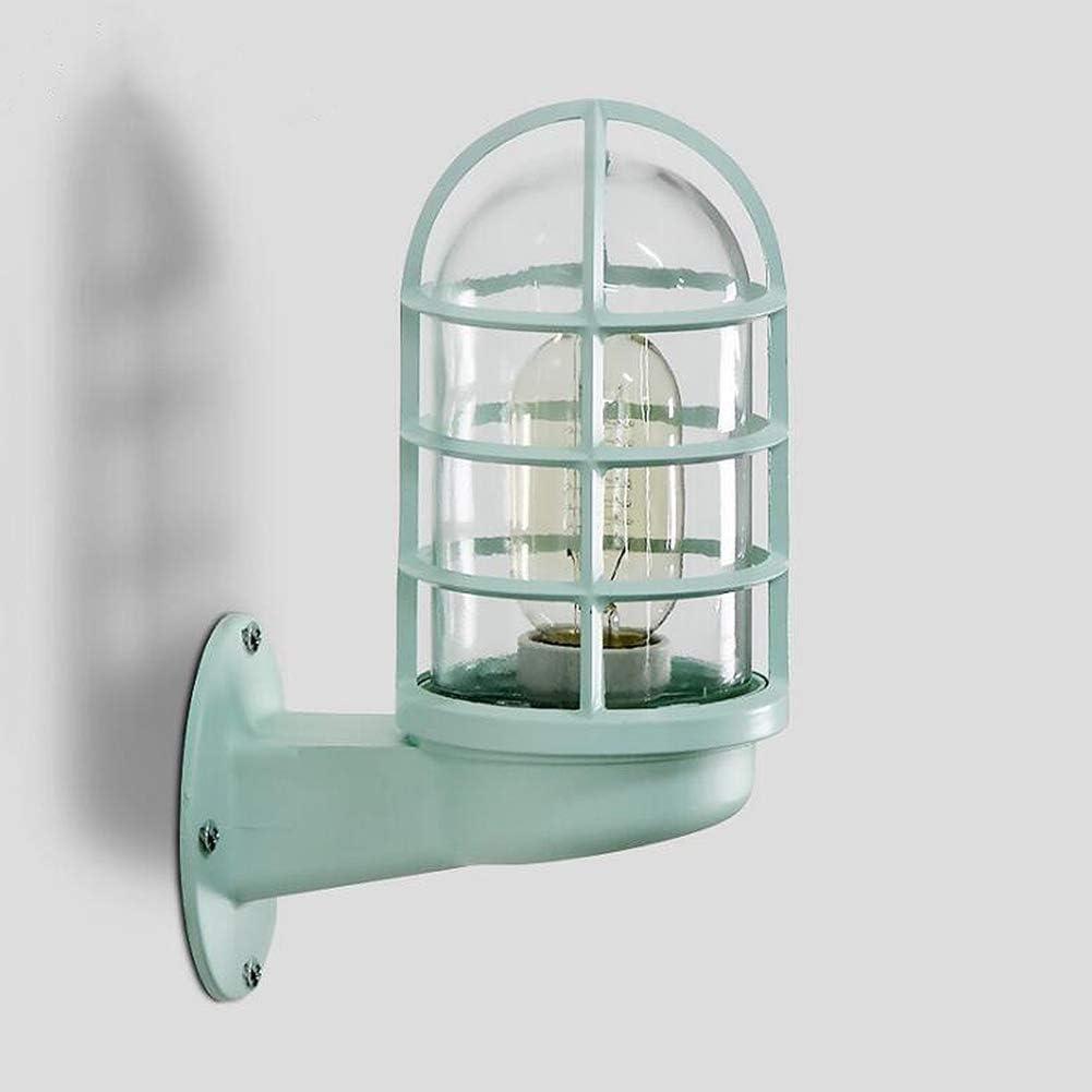 Lyghtzy® Retro Diseño industrial Jaula colorida Lámpara de pared con mampara Aplique con vidrio para sala de estar Baño Loft Garaje Puerta principal Patio trasero (Verde)