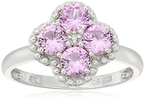 Sterling Silver Flower Created-Pink-Sapphire and Diamond Accent Ring, Size - Ring Flower Pink Sapphire