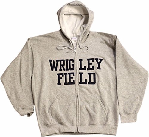 Wrigley Field Full Zip Embroidered Twill Grey Hoodie-10901-10908 (Large) (Embroidered Sweatshirt Gildan)