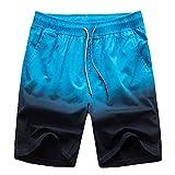2018 New Summer Men's Loose Casual Shorts Gradient Couple Beach Pants,Navy Blue,M