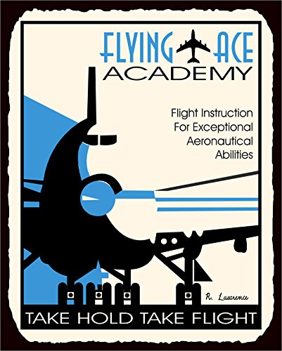Sign Tin Flying (Flying Ace Academy Vintage Metal Art Aviation Airplane Retro Tin Sign)