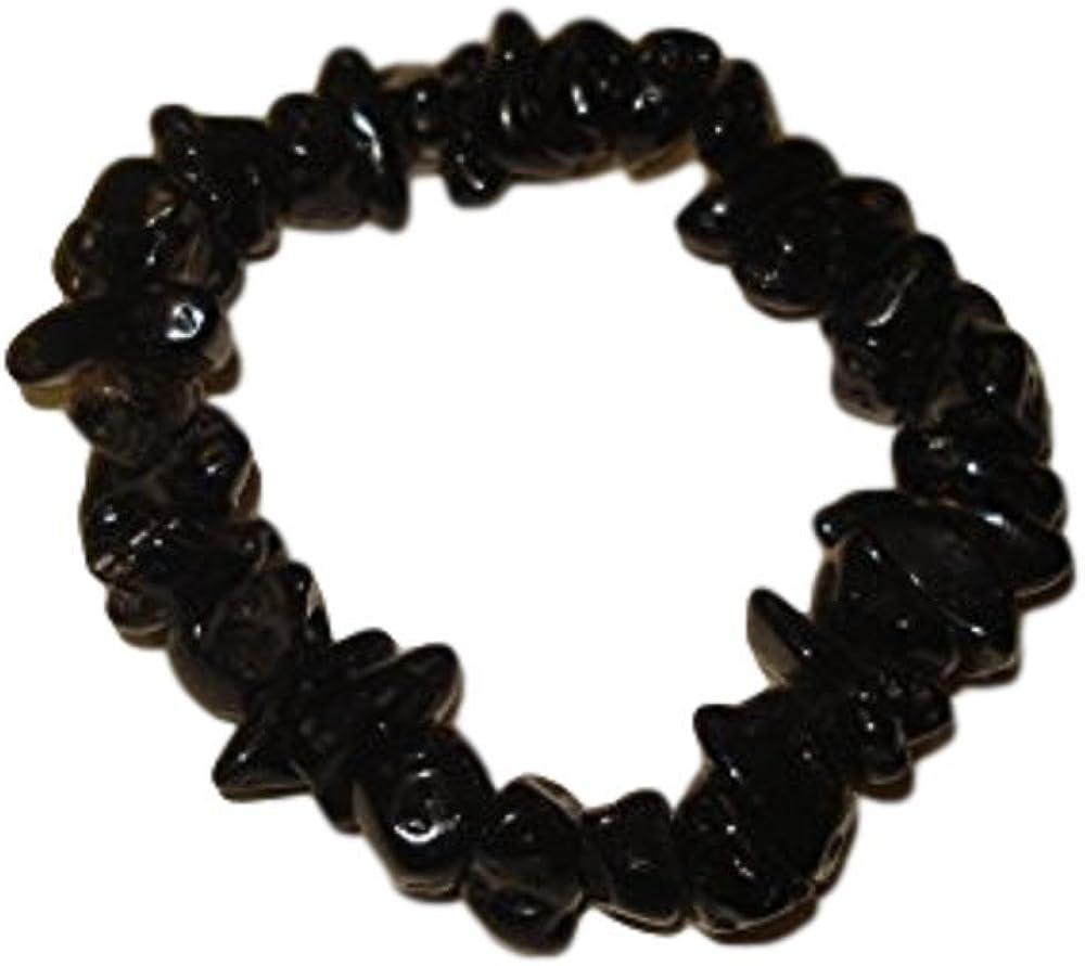 Sublime Gifts 1pc Tektite 100% Natural 8-12mm Chunky Chip Crystal Healing Gemstone Stretch Bracelets