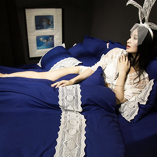 Hot Lady'S korean style thick bedding set soft comfortable durable skin-Friendly duvet cover set bed sheet lace edge -D Queen1 hot sale