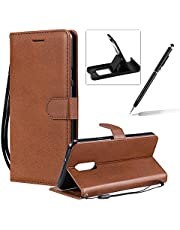 Strap Leather Case for LG Stylo 5,Wallet Flip Cover for LG Stylo 5,Herzzer Stylish Elegant Brown Solid Color Magnetic Folio Smart Stand Cover with Soft TPU