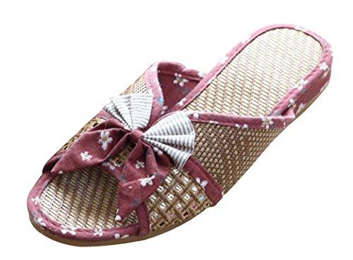 Blubi Women's Bow Open Toe Flax Summer Slippers Skid-proo...