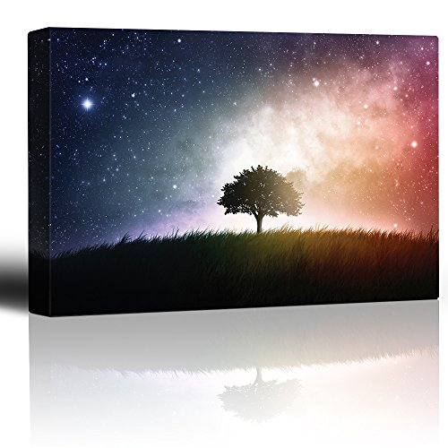 Lone Tree on a Green Field with a Blue and Red Galaxy Behind It