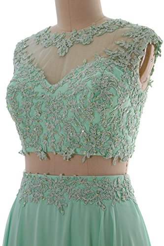 Gown Lace Formal Prom Dress Long MACloth 2 Evening Aqua Women Party Piece Chiffon xwSPpqA4nB
