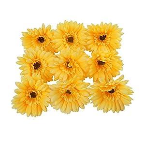 "Colorfulife 50pcs Artificial Silk Chrysanthemum 4"" Gerberas Flower Head for Wedding Home Party Decoration Hair Clip Wreath Decorative 11"