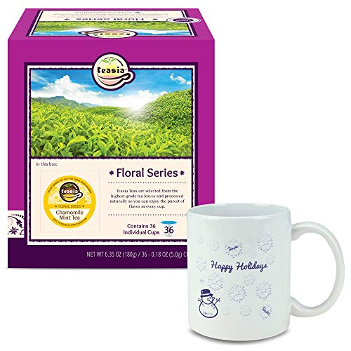 Teasia K-Cup + Holiday Mug, All Natural Chamomile Mint Tea (Caffeine-free), Floral Series, 36-count 2.0 COMPATIBLE K Cup Hot Tea Iced Tea Capsules Tea Pods for Keurig Brewers