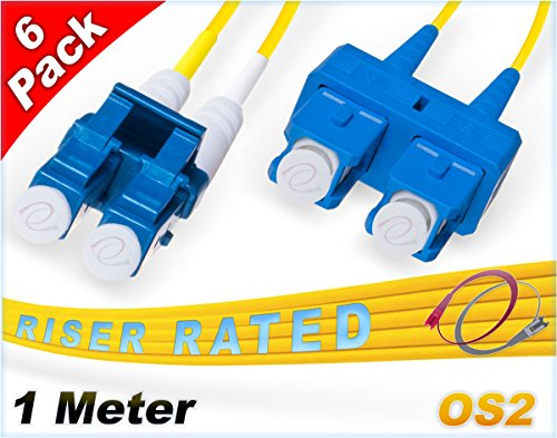 FiberCablesDirect 6Pk 1M OS2 LC SC Single Mode Fiber Patch Cables - 6 Pack | Duplex 9/125 LC to SC Singlemode Jumper Cord 1 Meter (3.28ft) | Pack Options: 2, 4, 6, 10, 12, 24 | pvc sm patch-cord lc-sc ()