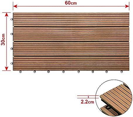 HENGMEI Set de 6 (1m²) Baldosas para Suelos Baldosas 30x60cm WPC Terraza losetas de jardín interior y exterior, Marrón: Amazon.es: Bricolaje y herramientas