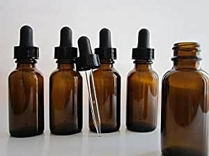 Silver Spur 1-oz Amber Glass Bottles for Essential Oils with Glass Eye Dropper - Pack of 6