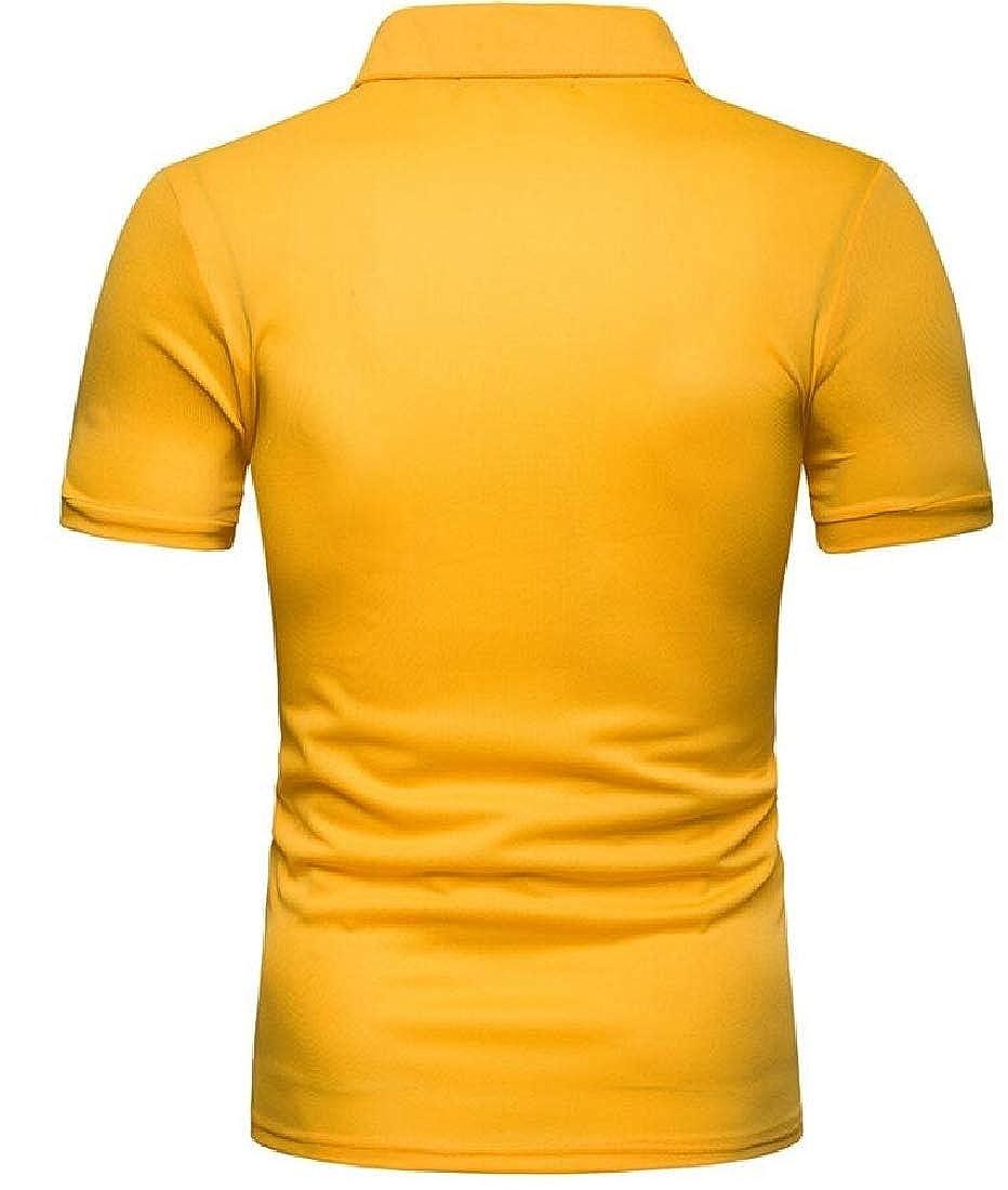 xtsrkbg Mens Pique Slim Lapel Color Block Short Sleeve Stylish Polo Shirt