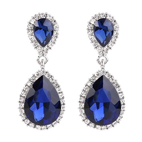 Sapphire Austrian Crystal Earrings (EVER FAITH Women's Austrian Crystal Wedding Tear Drop Dangle Earrings Navy Blue Silver-Tone)