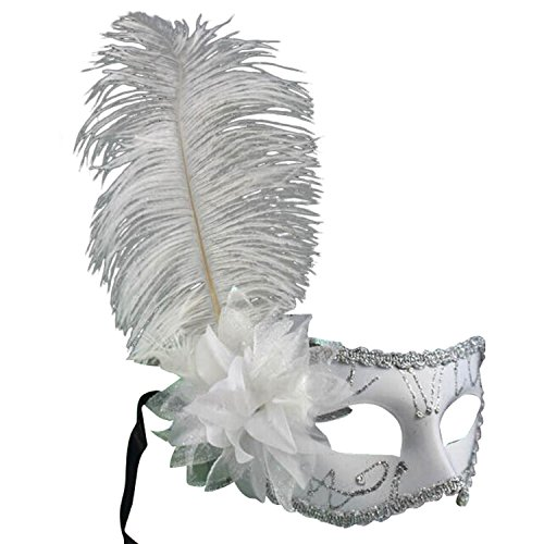 Sarahbridal Masquerade Mask Halloween Ball Mask Christmas Costume Party Mask with Feather White (Mask Mardi Feather White Gras)