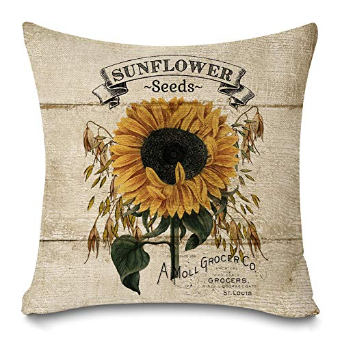 Faromily Rustic Farmhouse Sunflower Throw Pillow Covers Vintage Wood Sunflower Seeds Cotton Linen Farmhouse Decorative Throw Pillow Cases Cushion Cover 18