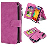 Galaxy Note 3 Case, ELOVEN Galaxy Note 3 Wallet Case Flip PU Leather Case Magnetic Detachable Credit Card Holder - 12 Card Slots Zipper Cash Storage Cover for Samsung Galaxy Note 3 N9000 - Rose