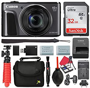 Canon PowerShot SX720 HS Digital Camera 40x Zoom + 32GB SD + Spare Battery + Complete Accessory Bundle