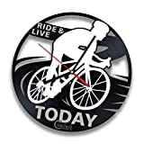 Bike Rider Vinyl Record Wall Clock by Handmade Solutions – Bicycle Themed Decor – Gift idea for cyclists For Sale