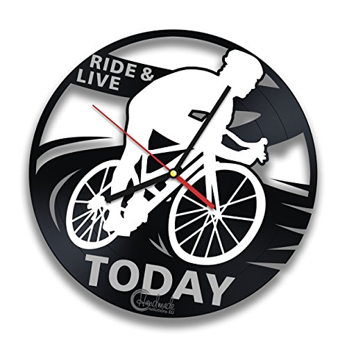 Bike Rider Vinyl Record Wall Clock by Handmade Solutions - Bicycle Themed Decor - Gift idea for cyclists