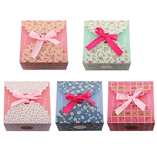 Gift Boxes, Set of 5 Decorative Treats Boxes, Cookies, Goodies, Candy and Homemade Soaps Gift Boxes for Christmas, Birthdays, Holidays, Weddings (Thanksgiving Gift Boxes)