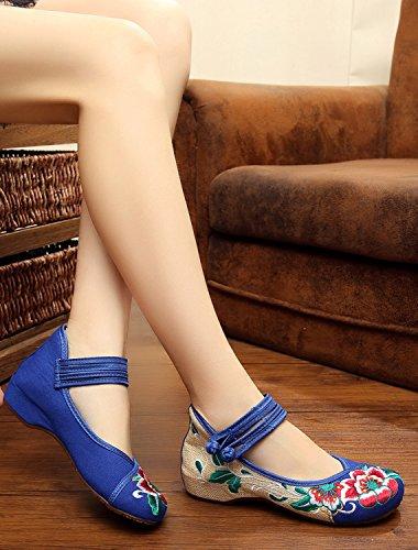 Icegrey Damen Doppel-Bgel Bestickt mit niedrigem Keil Mary Jane Schuhe Blau