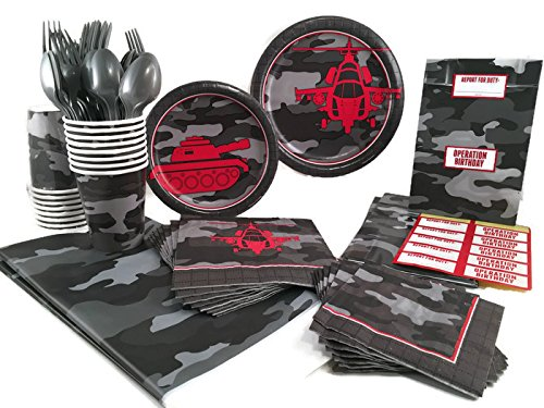[Operation Camo Party Supply Bundle For 16 Guests - Plates, Napkins, Cups, Cutlery, Tablecover, Treat Bags] (Air Force Birthday)