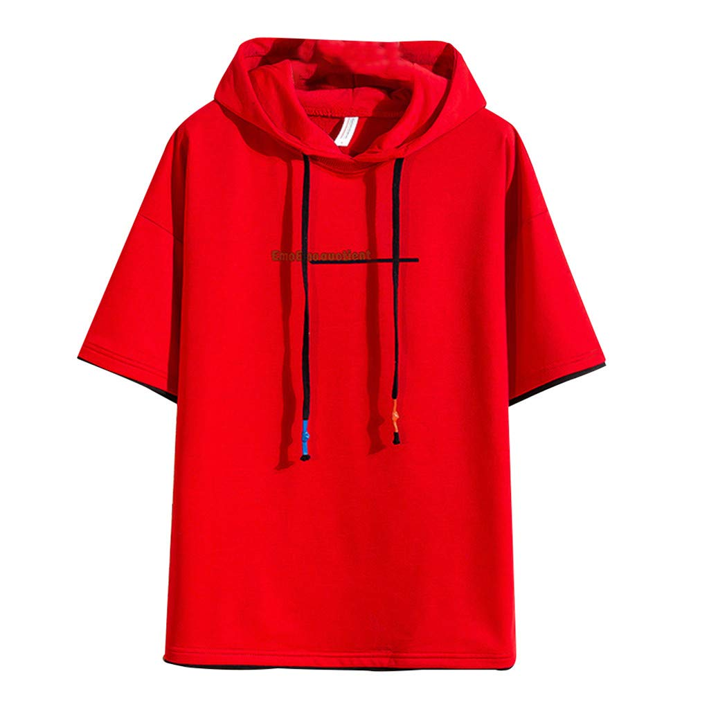 Alalaso Men's Hooded Short Sleeve Comfort Soft Pocket Hoodie T-Shirt Red by Alalaso