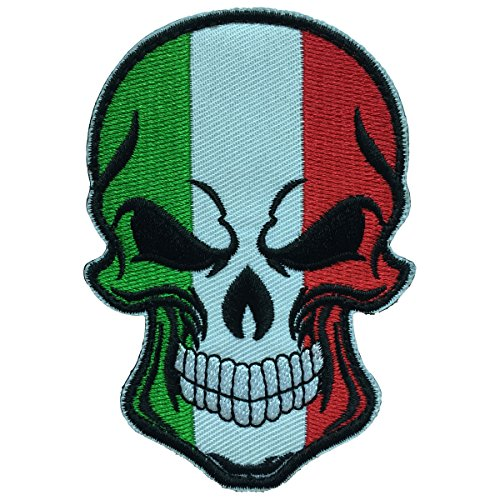 SpaceAuto Skull Head w/ Flag of Italy Military Tactical Morale Badge Hook Loop Fastener Patch 3.54