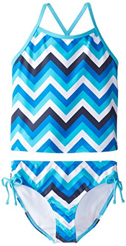 Kanu Surf Big Girls' Melanie Beach Sport 2-Pc Banded Tankini Swimsuit, Olivia Blue Chevron, 7