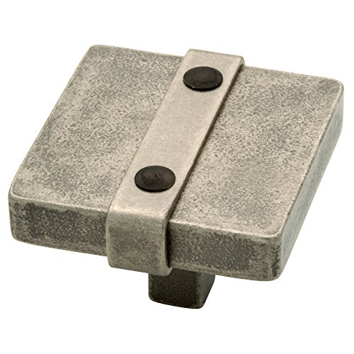 Liberty 65177PI Iron Craft Riveted Square Kitchen Cabinet Knob,  1-1/2 in, Tumbled Pewter