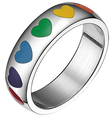 Trinity Knot Shank (AMDXD Jewelry Stainless Steel Unisex Rings Love Heart Patterned Colorful US Size 9)