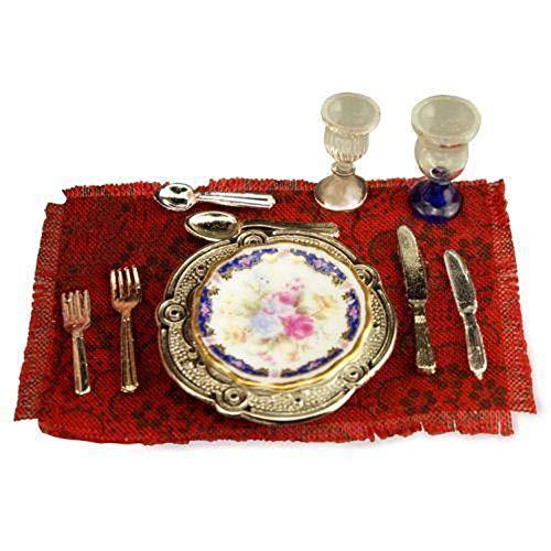 - DOLLHOUSE Blue Royale Dinner Setting 1.376/5 Reutter Porcelain Miniature