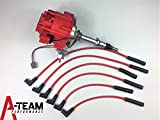 A-Team Performance HEI DISTRIBUTOR RED SPARK PLUG WIRES Compatible With AMC JEEP INLINE 6 CYLINDER 232 258 CJ5 CJ7
