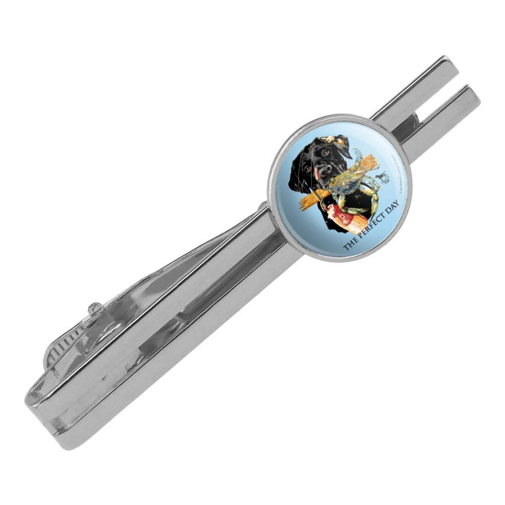 GRAPHICS /& MORE The Perfect Day Lab Dog Crab Fishing Round Tie Bar Clip Clasp Tack Silver