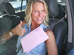 The Breast & Chest Buddy - Seatbelt Cushion for Mastectomy and Breast Reconstruction Sites - Polka Dots and Survivor Sticker