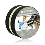 Anti Slip Tape Luminous , Yorwe Glowing in the Dark with Green Fluorescent Strips Safety Track Tape (2''width x 190''long,Luminous)
