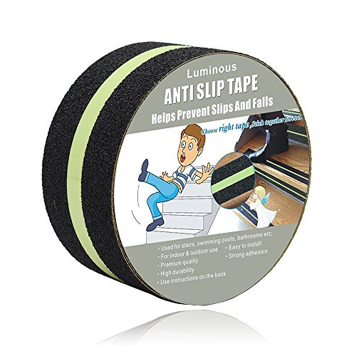 Anti Slip Tape Luminous , Yorwe Glowing in the Dark with Green Fluorescent Strips Safety Track Tape (2