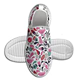 DiamondsJun Unisex Floral Background With Linked Swirling Tulip And Branches Fresh Ornate Art All Over 3D Printed Mesh Slip On Fashion Comfortable Shoes 43