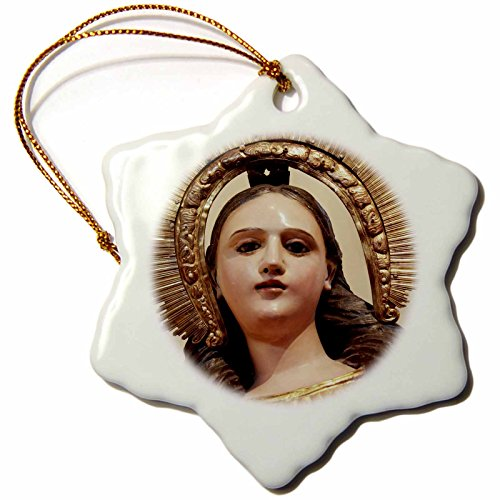 3dRose orn_92732_1 Statue of Guadalupe, Santa Fe, New Mexico-US32 JMR0969-Julien McRoberts-Snowflake Ornament, Porcelain, 3-Inch by 3dRose