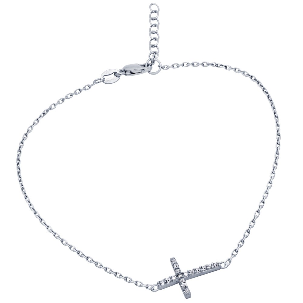 Cubic Zirconia Cross Anklet Rhodium Plated Sterling Silver 9'' + 1''
