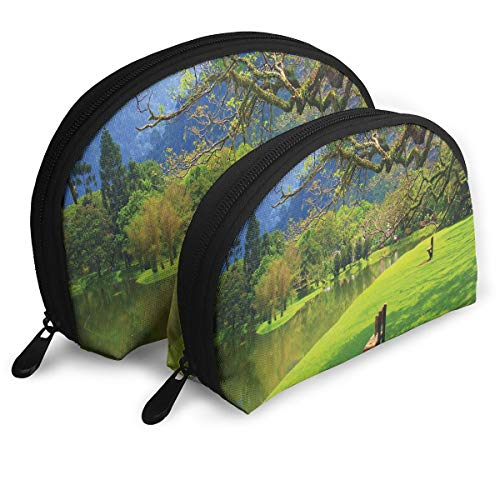 Shell Shape Makeup Bag Set Portable Purse Travel Cosmetic Pouch,Panoramic View Of Public Lake Garden At Asian Park Idyllic Landscape,Women Toiletry Clutch ()