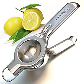 Nuvantee Lemon Squeezer - Quality 18/10 Stainless Steel Manual Citrus Press With Lemon Recipes Ebook 34 PREMIUM QUALITY - Commercial grade, Jumbo size press, made from the highest quality 18/10 stainless steel with a top quality hand polished finish that will not peel or rust. Includes stainless steel ring that can be used as hanging loop. Dish Washer Safe and easy to clean. HIGHLY EFFECTIVE - Incredibly comfortable to use, makes squeezing lemons, limes and oranges effortless, anyone can use this squeezer. Perfect for squeezing fresh juice without any seeds or pulp directly into anything that you are making. The edges are smooth to the touch and the unique design provides the perfect amount of leverage to completely extract every last drop of juice from your fruit. HOW TO USE - Simply place half of the fruit into the large bowl open face down towards the holes and squeeze the handle. The fresh juice comes out through the bottom of the lemon juicer directly into whatever you are cooking. It is absolutely one of the most uncomplicated kitchen gadget accessory that you can purchase.