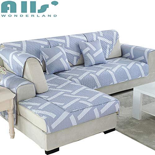 Fiesta - Funda para sofá blanco y gris, diseño geométrico, funda de asiento, 1 pieza 4ge, 1 funda universal, 100% algodón: Xian Dai LAN, 110 cm x 110 cm, 1 pieza